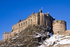 Castillo de Edimburgo en nieve fotografía de archivo