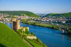 Castillo de Ehrenfels en el río Rhine cerca de Ruedesheim Foto de archivo