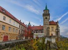 Castillo de Hruba Skala en el paraíso de Bohemia - República Checa fotografía de archivo