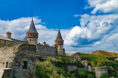 Castillo de Kamianets-Podilskyi en Ucrania Fotografía de archivo