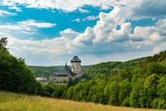 Castillo de Karlstejn, castillo gótico de Charles IV, República Checa imagen de archivo