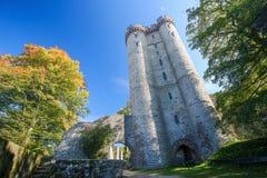 Castillo de Kasselburg en Vulkaneifel, Renania-Palatinado, Alemania Fotografía de archivo