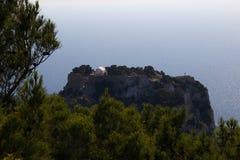 Castillo de la arquitectura de los edificios históricos de Rhodos Grecia de las ruinas de Monolithos Fotos de archivo libres de regalías