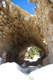 Castillo de la arquitectura de los edificios históricos de Rhodos Grecia de las ruinas de Monolithos Foto de archivo libre de regalías