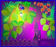 Castillo de la fantasía del país de las hadas tarde en la noche libre illustration