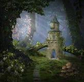 Castillo de la fantasía en el bosque stock de ilustración