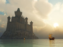 Castillo de la fantasía en la puesta del sol