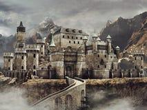 Castillo de la fantasía en las montañas fotografía de archivo libre de regalías