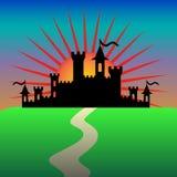 Castillo de la fantasía por la mañana Vector stock de ilustración