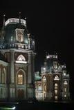 Castillo de la iluminación de la noche de la reserva Tsaritsyno del museo Fotografía de archivo