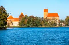 Castillo de la isla en Trakai en Lituania Imagen de archivo