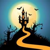 Castillo de la noche de Halloween Imagenes de archivo