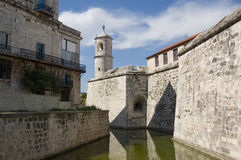 Castillo de la Real Fuerza, Havana. View along the moat of the Castillo de la Real Fuerza in Havana, Cuba. Built in the mid 16th century, the fort was the stock photo