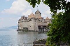 castillo de la ubicación famosa y de la señal del viaje de Chillon en Suiza Fotos de archivo