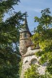 Castillo de Lichtenstein con el edificio y la torre auxiliares Foto de archivo