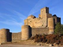Castillo de Loarre en el ligth 2 de la mañana Foto de archivo