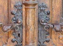 Castillo de madera viejo retro de la puerta fotografía de archivo libre de regalías