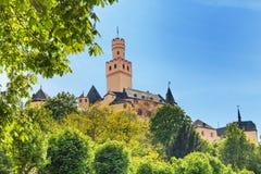 Castillo de Marksburg en Alemania en la colina Foto de archivo libre de regalías