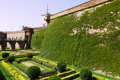 Castillo de Montjuic with garden in summer. Barcelona Stock Photo