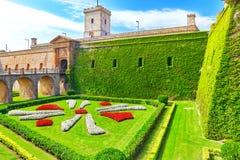 Castillo de Montjuic i Barcelona Arkivbild
