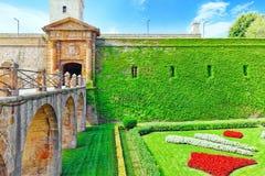 Castillo De Montjuic w Barcelona Obrazy Stock