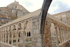 Castillo de Morella y Covent de Sant Francesc, España Foto de archivo