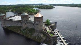 Castillo de Olavinlinna almacen de metraje de vídeo