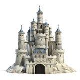 Castillo de piedra aislado en el fondo blanco stock de ilustración