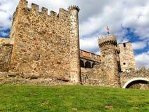 Castillo de Ponferrada, en templar slott, i Ponferrada, Spanien Arkivbilder