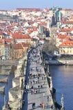 Castillo de Praga y puente de Charles Fotografía de archivo