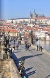 Castillo de Praga y puente de Charles Imagen de archivo libre de regalías