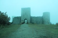 Castillo de Puivert, Francia Imagen de archivo
