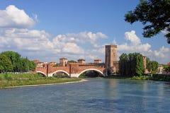 Castillo de río Adige y de Verona Imágenes de archivo libres de regalías