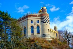 Castillo de Rocchetta Mattei en Riola, Grizzana Morandi, Bolonia imagen de archivo libre de regalías