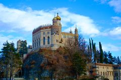 Castillo de Rocchetta Mattei en Riola, Grizzana Morandi, Bolonia fotografía de archivo libre de regalías