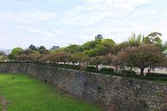 Castillo de Sakura Osaka imagen de archivo libre de regalías