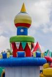 Castillo de salto, patio para los niños con las diapositivas 3 Foto de archivo libre de regalías