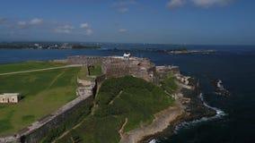 Castillo de San Cristobal en Puerto Rico Island almacen de metraje de vídeo