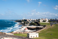 Castillo De San Cristobal fort and Puerto Rican Coastline Stock Photos