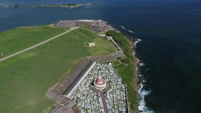 Castillo de San Cristobal i Puerto Rico Island arkivfilmer