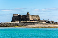 Castillo de San Gabriel - Saint Gabriel Castle in Arrecife and cannons in front of it royalty free stock image