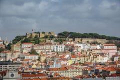 Castillo de San Jorge y de Lisboa céntricos Fotografía de archivo libre de regalías