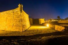 Castillo de San Marcos на ноче, в Августине Блаженном, Флорида Стоковые Изображения RF