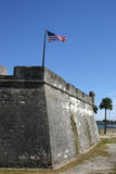 Castillo de San Marcos. Exterior of historic fort, Castillo de San Marcos, with American flag, St. Augustine, Florida, U.S.A Royalty Free Stock Photos