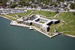 Castillo de San Marcos. Aerial view of Castillo de San Marcos National Monument in Saint Augustine, Flordia royalty free stock image