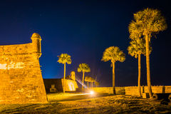 Castillo de San Marcos alla notte, a St Augustine, Florida Fotografia Stock