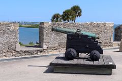 Castillo de San Marcos. The Castillo de San Marcos is the oldest masonry fort in the continental United States. Located on the western shore of Matanzas Bay in royalty free stock photography