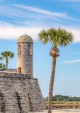 Castillo de San Marcos Fort. The Castillo de San Marcos, a coquina stone fort built by the Spanish stands hundreds of years later in St. Augustine, Florida royalty free stock photography