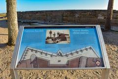 Castillo de San Marcos Fort sign  in Florida`s Historic Coast stock photos