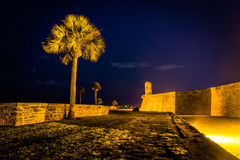 Castillo de San Marcos at night, in St. Augustine, Florida. Royalty Free Stock Photo